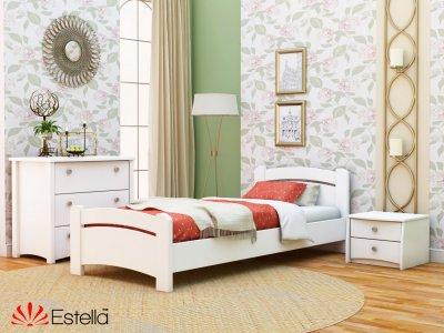 Ліжко односпальне дерев'яна 80х200 Estella Венеція Білий (Щит-107) Л4