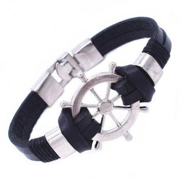 Кожаный браслет Штурвал DiaDemaGrand Черный с серебряным (074001-19-15)