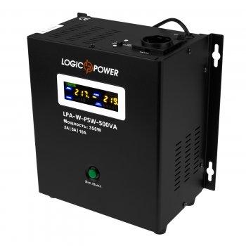 ИБП LogicPower LPA-W-PSW-500VA (350Вт)2A/5A/10A, Lin.int., AVR, 1 x евро, LCD, металл, с правильной синусоидой, 12V, настенный