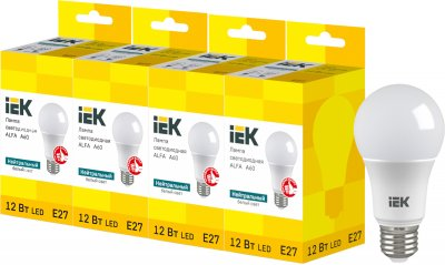 Светодиодная лампа IEK ALFA A60 12W 4000К E27 230V 4шт (LLA-A60-12-230-40-E27X4)