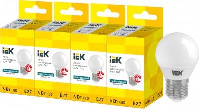Светодиодная лампа IEK ALFA G45 6W 4000К E27 230V 4шт (LLA-G45-6-230-40-E27X4)