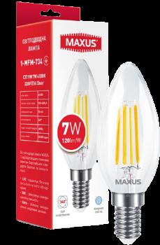 Світлодіодна лампа Maxus C37 FM 7 W 4100 K 220 V E14 Clear (1-MFM-734)