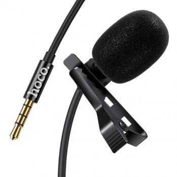 Петличний мікрофон провідний HOCO DI02, jack 3.5, 2м, чорний