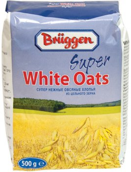 Упаковка вівсяних пластівців Bruggen Super White Oats 500 г х 20 шт. (4008713763812)