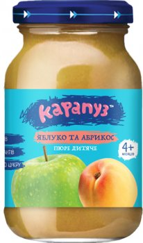 Упаковка дитячого пюре Карапуз Яблуко й абрикос без цукру 170 г х 12 шт. (4820134722052_4820134722267)