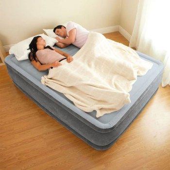 Надувне ліжко Intex 67770 (152х203х33 см) вбудований насос полуторне Сіра