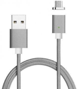 Кабель Voltronic USB-microUSB, магнітний, 1 м Gray (YT-MCFB-M/Gr/15591)