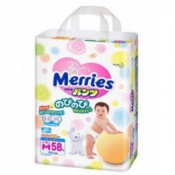 Подгузники-трусики японские Merries (Мерриес) M (6-10кг) 58шт.