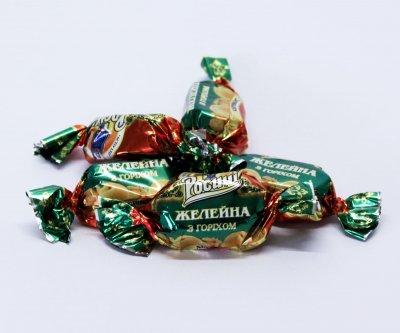 Натуральные органические шоколадные конфеты Росичи Желейная с орехом (Желейна з горіхом), 250 г
