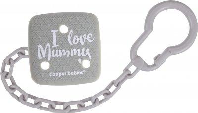 Ланцюжок до пустушки Canpol Babies I Love Mummy (2/434 Сірий) (5903407024349)