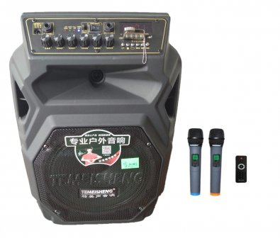 Профессиональная аккумуляторная акустическая система Temeisheng SL 10-08S колонка-чемодан с беспроводными микрофонами 150W