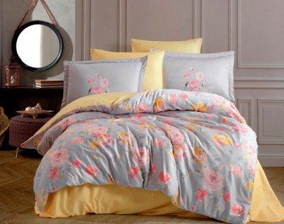 Комплект постельного белья Hobby Exclusive Sateen Calvina серый 200х220 (8698499154520)