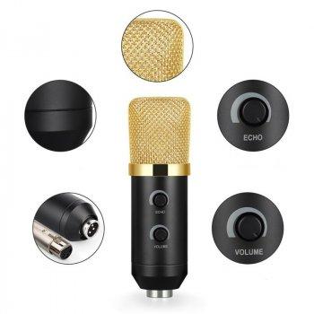 Студийный микрофон Music D.J. M800U со стойкой и ветрозащитой Black/Gold (np5709)