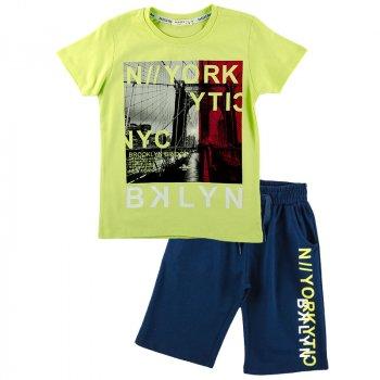 Комплект летний для мальчика (футболка + шорты) BREEZE 15398 салатовый/т-синий