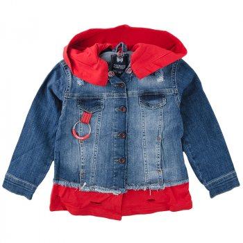Пиджак джинсовый детский A-YUGI 17092 синий с красным