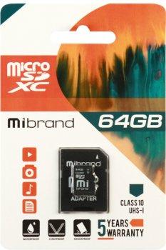 Mibrand microSDXC 64GB Class 10 UHS-1 + SD адаптер (MICDXU1/64GB-A)
