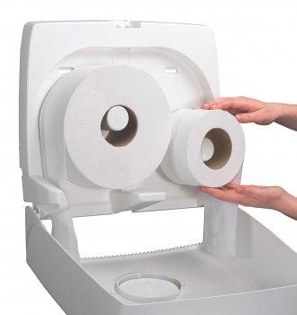 Диспенсер для туалетного паперу KIMBERLY CLARK PROFESSIONAL Aquarius на великий і малий рулони (6991) білий