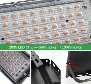Потужний Фіто Ультрафіолетовий прожектор для рослин і розсади 100Вт 96LED 240*125 мм