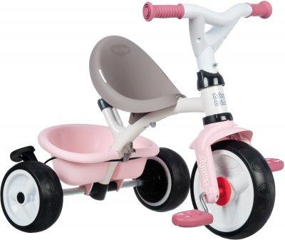 Детский велосипед Smoby Toys металлический с козырьком багажником и сумкой Розово-серый 66х49х100 см (741401) (3032167414014)