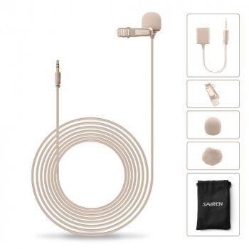 Петличний мікрофон для камери, комп'ютера, смартфона Sairen S-Lav Шампань (6 м кабель) (48220)