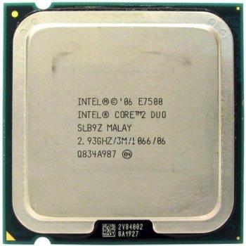 Процессор Intel Core 2 Duo E7500 (S775/2x2.93GHz/3MB/65 Вт/BX80571E7500) Б/У