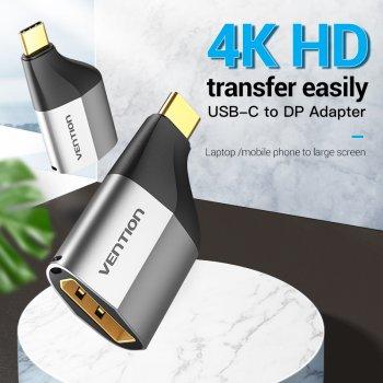 Адаптер Type-C-DisplayPort v.1.2 Vention 4K 60Hz gold-plated Black (TCCH0)
