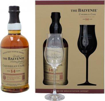 Виски Balvenie Caribbean Cask 14 лет выдержки 0.7 л 43% в подарочной упаковке + бокал (3500870066764)