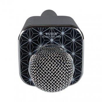Ручной микрофон караоке для пения, беспроводный с динамиком, блютуз (Bluetooth), FM радио и функцией записи голоса WSTER WS-1688-B Черный + USB (флешка) + TF (слот для карты памяти) + AUX (для наушников или колонок) + функция селфи
