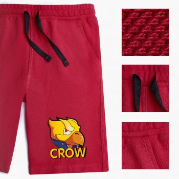 Шорти дитячі Бровл Старс Ворон yellow (Brawl Stars Crow yellow) (9753-1028-DR) Бавовна Lacoste Темно-червоний
