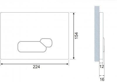 Панель смыва CERSANIT Actis S97-018 черное стекло