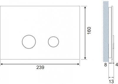 Панель смыва CERSANIT Stero K97-370 серое стекло