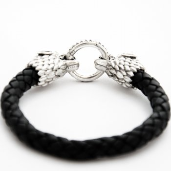 Браслет TOTEM Adventure Jewelry Волк серебряный с черным кожаным шнуром