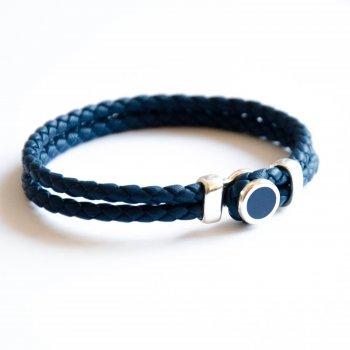 Браслет TOTEM Adventure Jewelry с серебром и эмалью синий кожаный