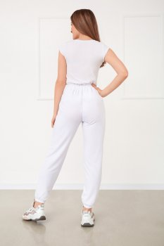 """Спортивні штани з високою талією Fashion Girl """"Matrix"""" білий"""