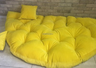 Крісло трансформер матрац з подушкою безкаркасне розкладне лежак Жовтий (123455211123)