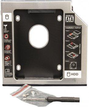 """Адаптер під'єднання Frime HDD/SSD 2.5"""" у відсік привода ноутбука SATA/mSATA 12.7 mm (FHDC127M)"""