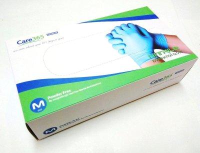 Перчатки нитриловые Care365 M 100 шт Голубой (М365)