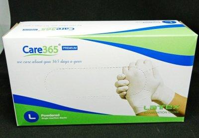 Перчатки латексные опудренные Care365 100 шт./уп. L Белый (365 LP)