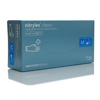 Перчатки нитриловые, неопудренные Mercator Medical Nitrylex Classic размер М -100 шт Синий