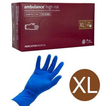Перчатки латексные Mercator Medical Ambulance High Risk размер XL 50 шт Синие