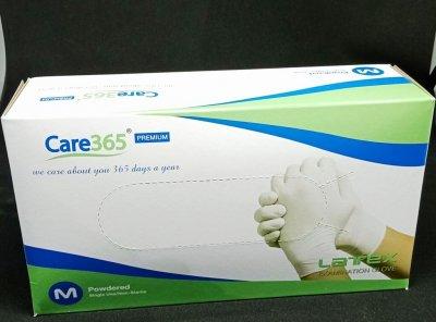 Перчатки латексные опудренные Care365 100 шт./уп. М Белый (365 МP)