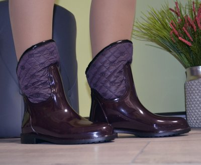Сапоги резиновые W-shoes 116b женские силиконовые бордовые на флисе b-249