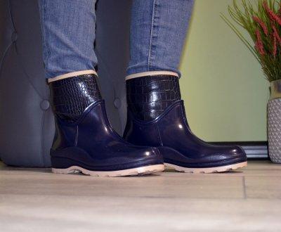 Чоботи-черевики W-shoes 116b гумові утеплені непромокальні сині b-239