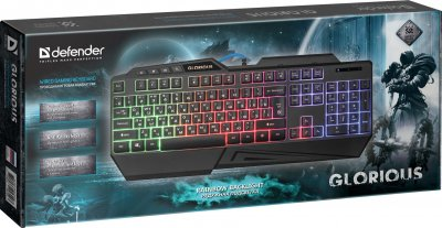 Клавиатура проводная Defender Glorious GK-310L RGB Black (45310)