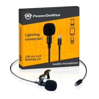 Петличний мікрофон PowerDeWise для iPhone під роз'єм Lightning.