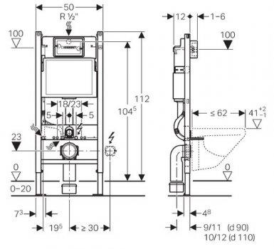 Монтажний комплект Geberit Duofix 458.126.00.1 для підвісного унітазу Н112 12 см UP100 без клавіші