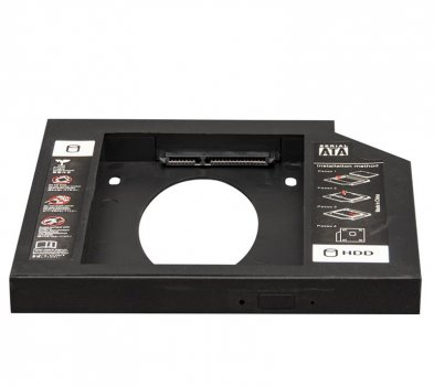 """Переходник Frime для установки 2.5"""" SSD/HDD в отсек привода 9.5мм Black (FHDC950P)"""