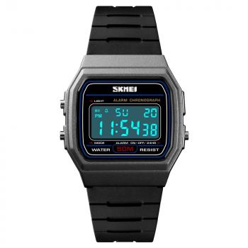 Годинники чоловічі SKMEI 1412 з секундоміром + будильник і підсвічування Чорний/Сірий