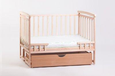 Кроватка-трансформер 2 в 1 Deson с выдвижным ящиком и маятниковым механизмом качания + 2 уровня днища Натуральный