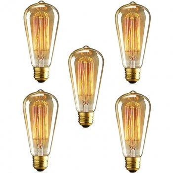 Вінтажна ретро лампа Horoz ST64, Декоративна лампа розжарювання, 40W, E27, Лампа Едісона